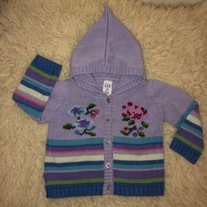 GAP cotton purple floral stripe hooded sweater
